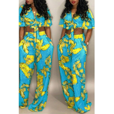 LovelyEuramerican Floral Printed Baby Blue Two-piece Pants Set