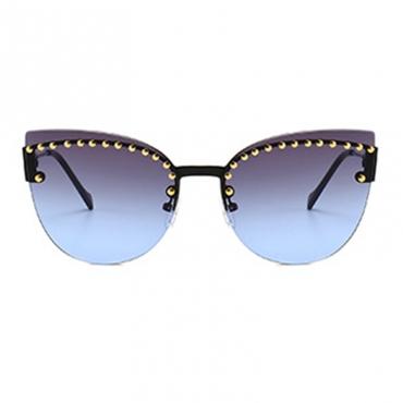 Lovely Fashion  Style Rivet Decorative Blue Sunglasses