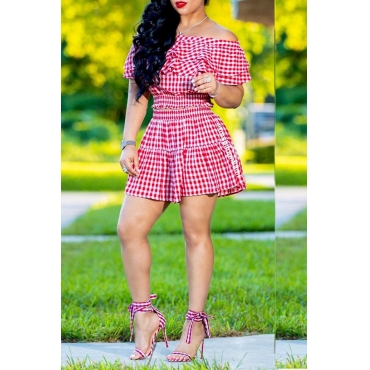 Lovely Casual Dew Shoulder Plaids Printed Red Two-piece Skirts Set