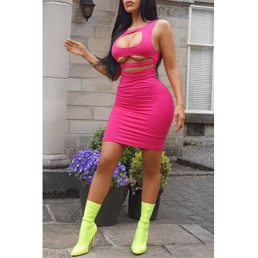 Lovely  Euramerican  Hollow-out Pink Mini Dress