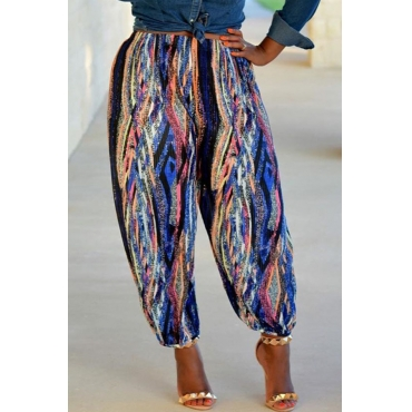 Lovely Casual  Printed Loose Multicolor Pants