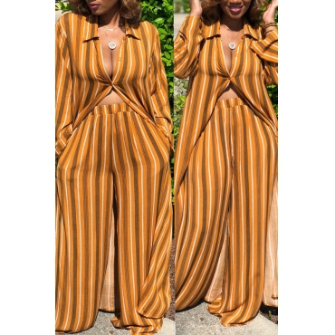 Lovely Casual  Striped  Loose Yellow Two-piece Pants Set