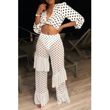 Lovely Casual Dots Printed  White Two-piece Pants Set