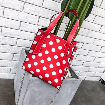 Lovely Fashion Dots Printed Red Shoulder Bags