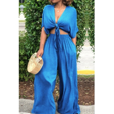 Lovely Casual Lace-up Loose Baby Blue Two-piece Pants Set