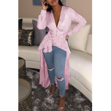 LovelyCasual Striped Long Sleeve V Neck Blouses&Shirts