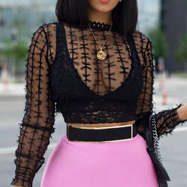 LovelySexy See-Through Black  Blouses