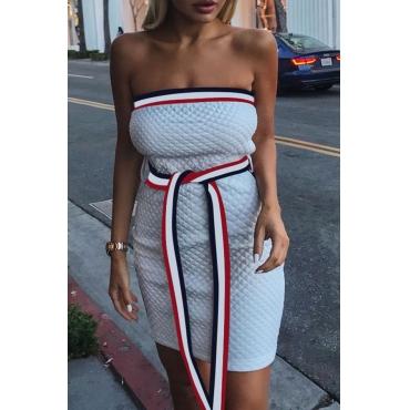 Lovely Trendy Dew Shoulder Patchwork White Mini Dress (With Belt )