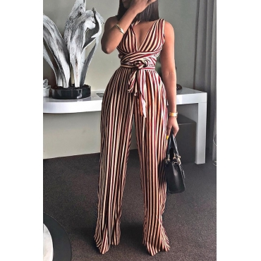 Lovely Euramerican Striped Lace-up Wine Red One-piece Jumpsuit