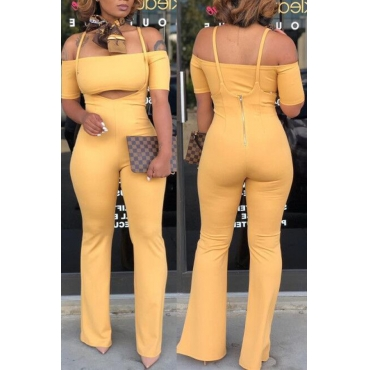 Lovely Fashion Dew Shoulder Yellow Two-piece Pants Set