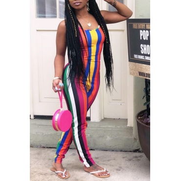 Lovely Trendy Striped Skinny Multicolor One-piece Jumpsuit