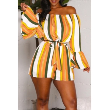 Lovely Trendy Dew Shoulder  Striped  Yellow One-piece Rompers (With Belt )