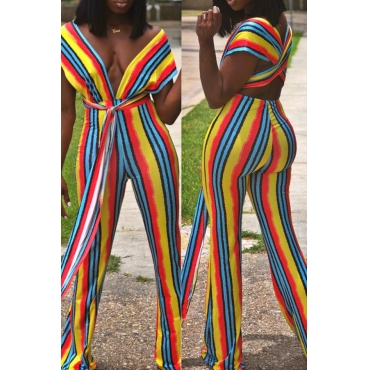 Lovely Casual Striped Multicolor Qmilch One-piece  Jumpsuit