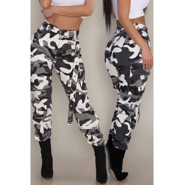 Lovely Casual High Waist Camouflage Printed Black Cotton Pants