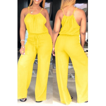 Lovely Trendy Loose Yellow One-piece Jumpsuit