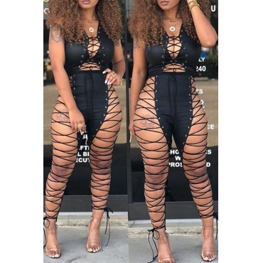 Lovely Sexy Lace-up Hollow-out Black Leather One-piece Jumpsuits