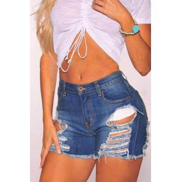 Lovely  Casual Broken Holes Deep Blue Denim Shorts
