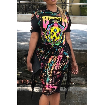 Lovely Fashion Printed Black Qmilch Two-piece Skirt Set