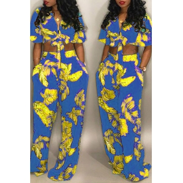 Lovely Euramerican Floral Printed Royal Blue  Two-piece Pants Set