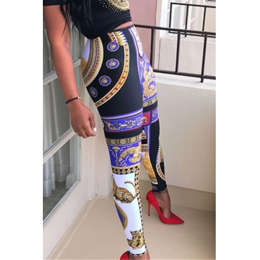 Lovely Ethnic Style Printed Skinny Multicolor Pants