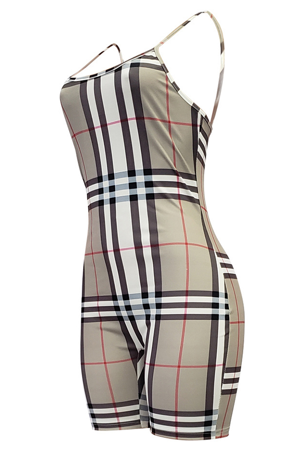 Lovely Casual Grids Printed Khaki One-piece Romper