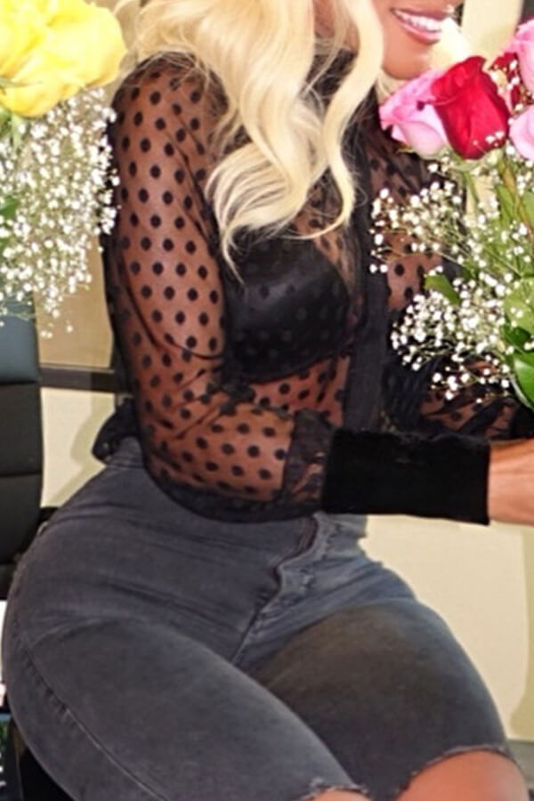 Lovely Sexy See-through Dots Printed Long Sleeves Black Gauze Blouses