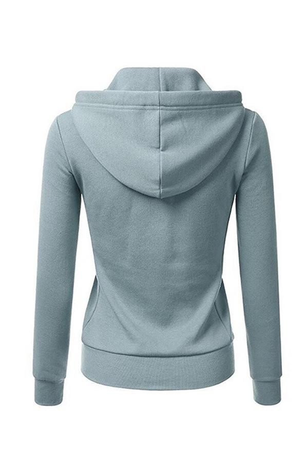 Lovely Casual Zipper Design Light Blue Hoodies