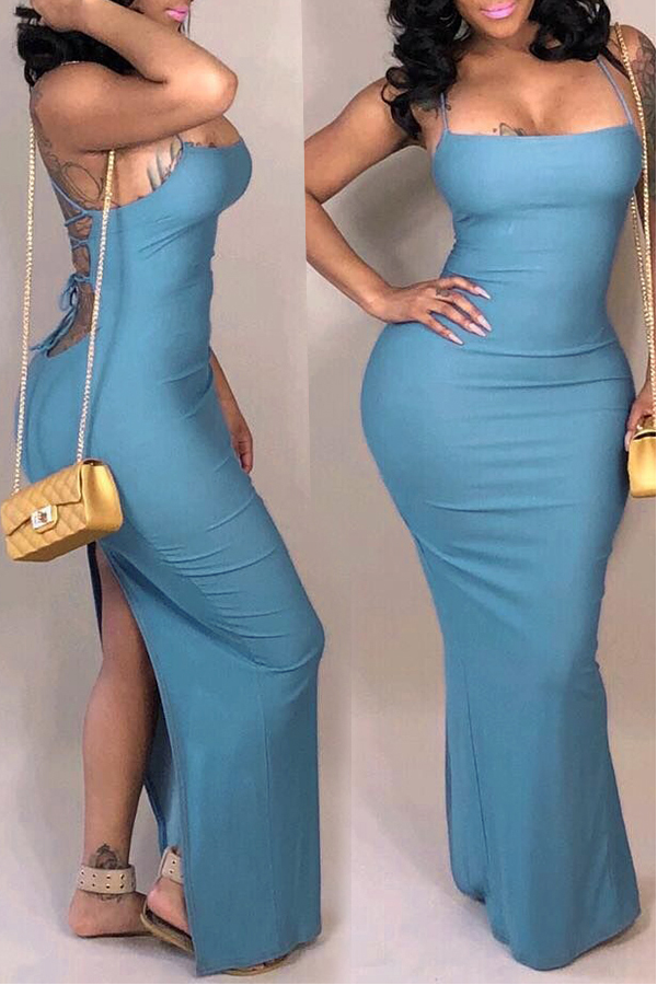 Lovely Casual Backless  Baby Blue Qmilch Ankle Length  Dress