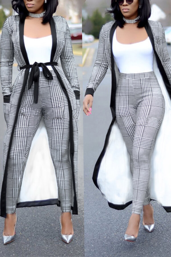 Lovely  Casual Grid Printed Grey Knitting Two-piece Pants Set(Without T-shirt)