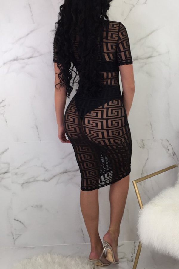 Lovely Sexy See-through Printed Sheath Black Knee Length Dress(Without Underclothes)