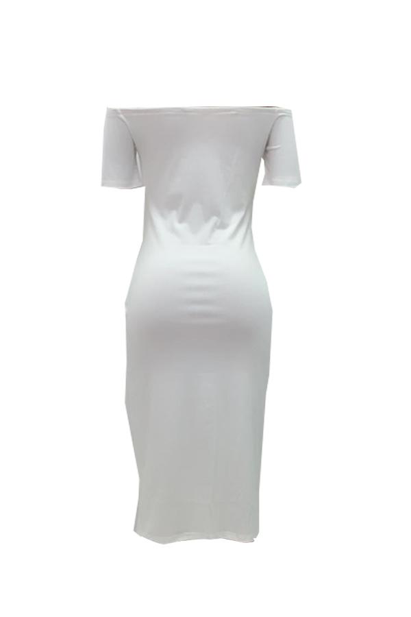 Lovely Euramerican  Letters Printed White Twilled Satin Mid Calf Dress