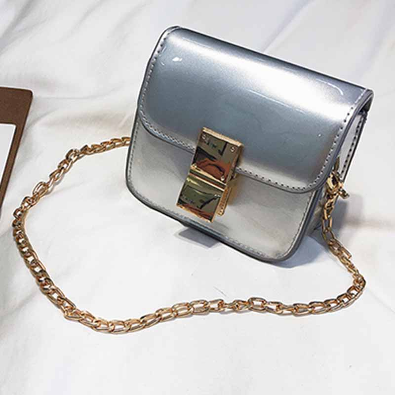 Lovely Fashion Square Silver Patent Leather Crossbody