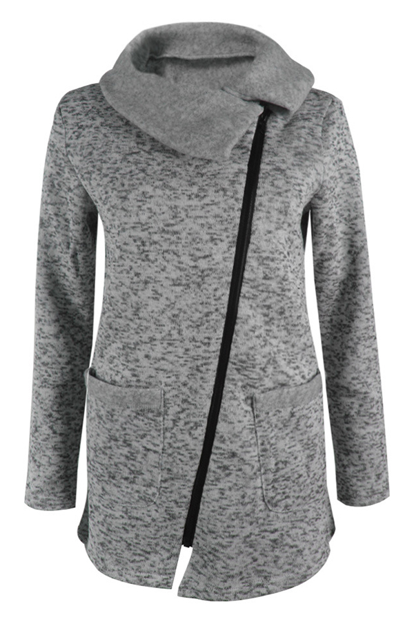 Lovely Casual Zipper Design Grey  Long Coat
