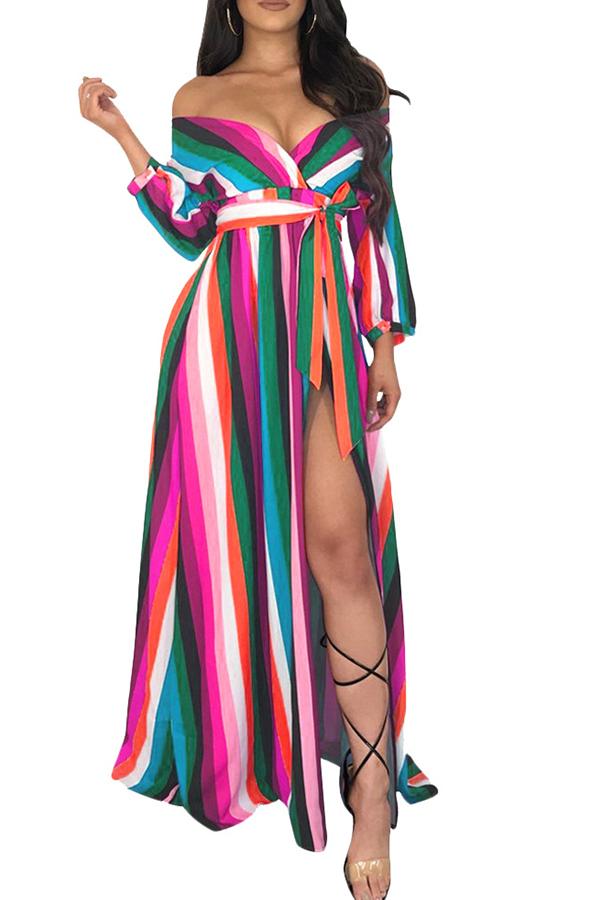 Lovely Euramerican Side Slit Striped Pink Floor Length Dress