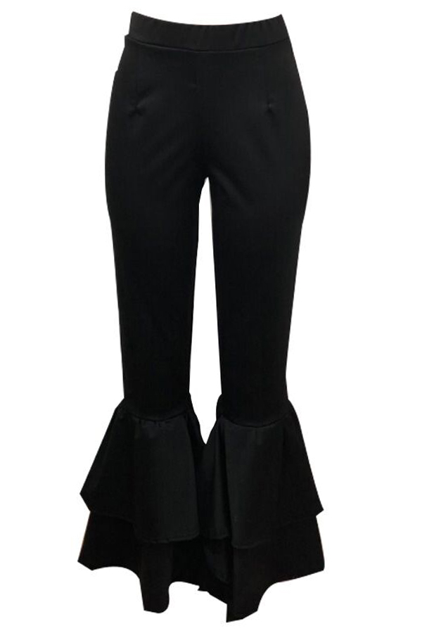 Lovely Trendy Flared Legs Loose Black Twilled Satin Pants