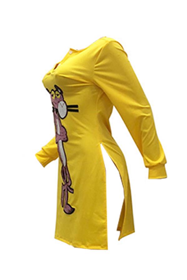 Lovely Street Cartoon Animal Yellow Blending Mini Dress