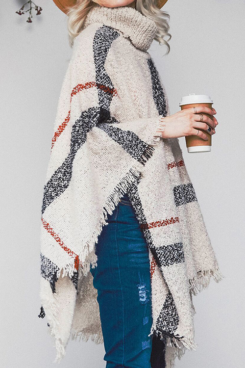 Lovely Fashion Tassel Loose Beige Sweaters