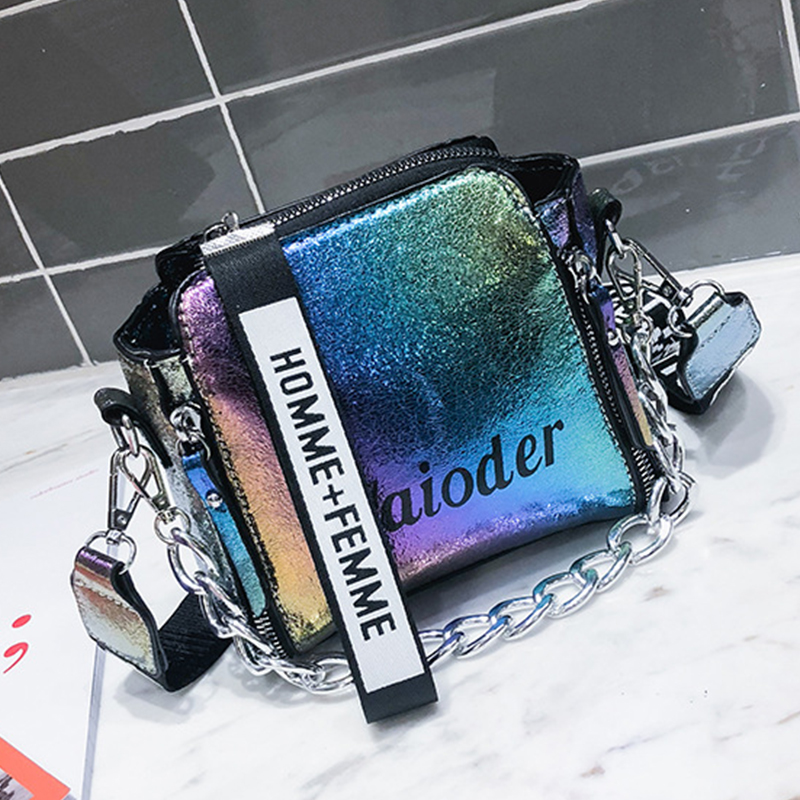 Lovely  Fashion Laser Multicolor Patent Leather Messenger