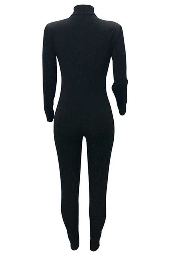 Lovely Trendy V Neck Zipper Design Black  One-piece Jumpsuit