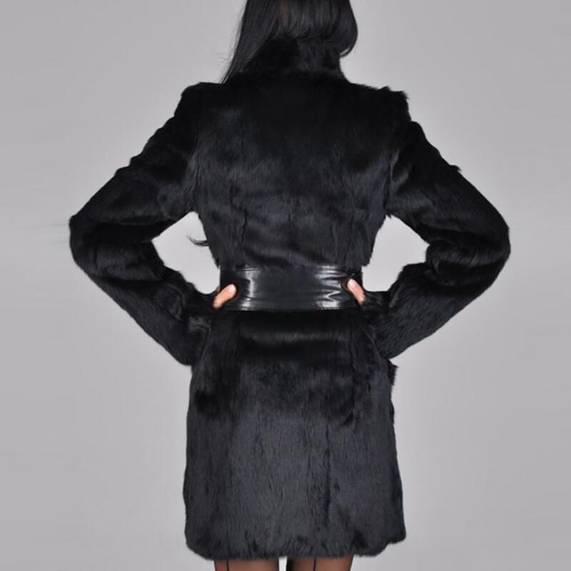 Lovely Casual Lace-up Long Black Faux Fur Coat