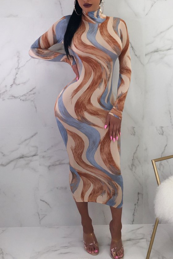 Lovely Casual Mandarin Collar Mixed Printed Slim Multicolor Mid Calf Dress