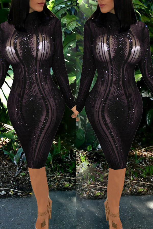 Lovely Sexy Long Sleeves See-through Black Knee Length Dress(Without Underclothes )