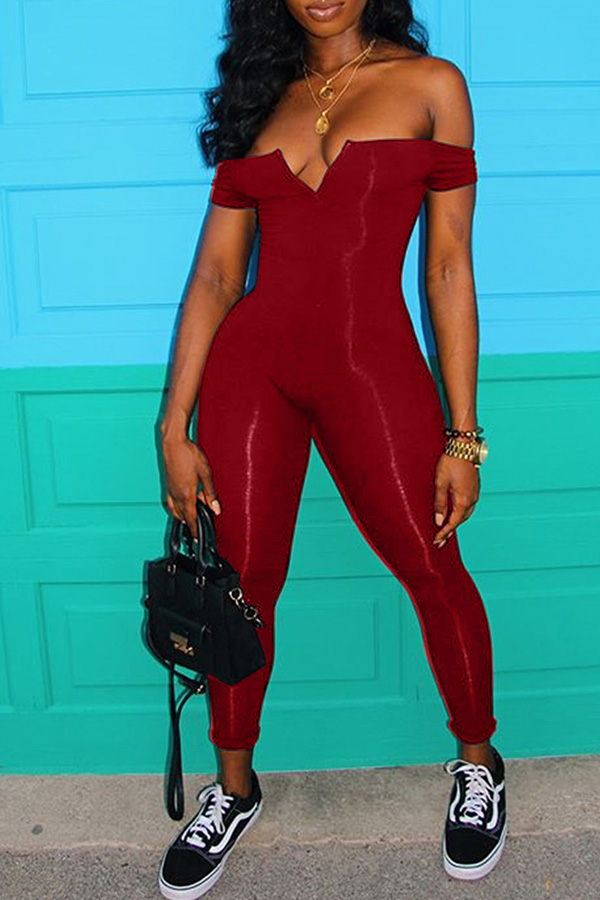 Lovely Euramerican Dew Shoulder Skinny Wine Red One-piece Jumpsuit фото