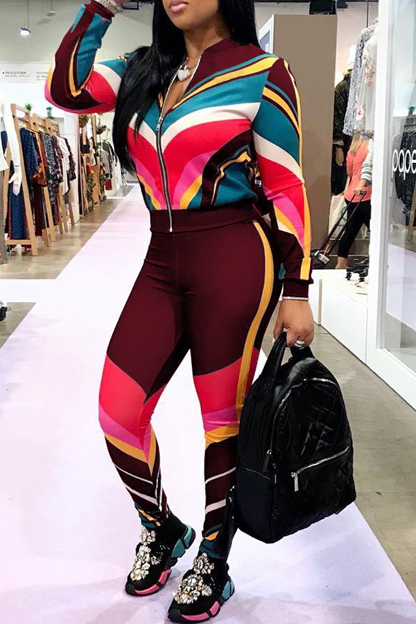 Lovely Sportswear Patchwork Wine Red Blending Two-piece Pants Set