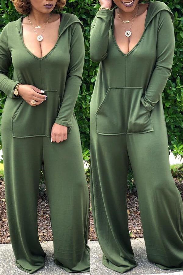 Precioso Collar Casual Con Capucha Suelto Mono De Una Pieza Verde