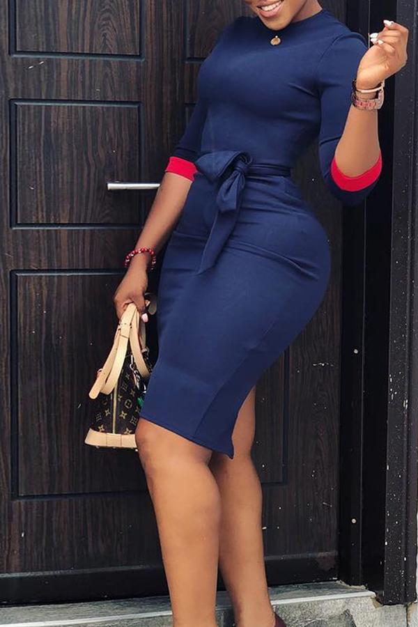 Lovely Casual Patchwork Slim Dark Blue Knee Length Dress