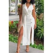 Lovely Fashion Side Slit White Twilled Satin Mid C