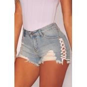 Lovely Casual Broken Holes Light Grey Denim Shorts