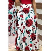 Lovely Fashion Floral Printed White Ankle Length S