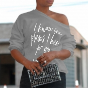 Lovely  Casual Long Sleeves Letter Printed Grey T-shirt